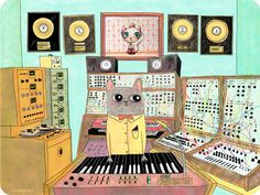 Mr. Cat Playing Synth In the Studio
