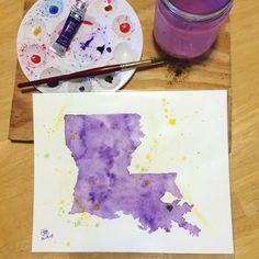 Louisiana Watercolor State Art  Pricing info found at www.facebook.com/onlythebetz