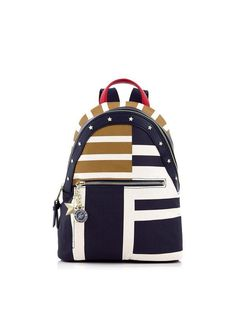 34ef26c52b96 TOMMY X GIGI Gigi Stripe Backpack - Navy whiteSize  amp  FitDimensions   Height