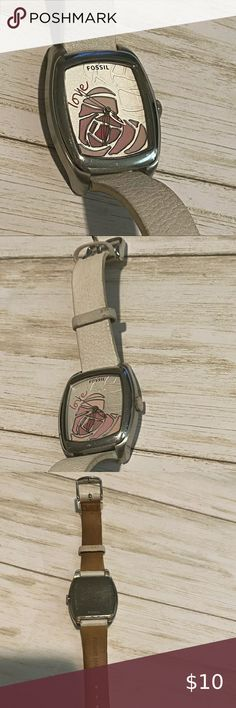 Fossil Love Watch Leather Band In 2020 Fossil Accessories Leather Band Leather Watch