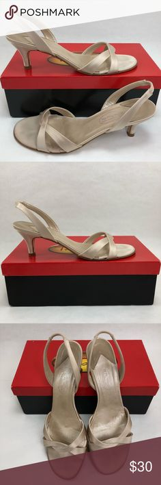 Talbots Womens 8.5 Pumps Satin Strappy Kitten Heel Worn once! Talbots Women's 8.5 Open Toe Pumps. Beautiful Champagne color Satin Strappy Kitten Heel Sandals. Check out the photos, make an offer! Talbots Shoes Heels