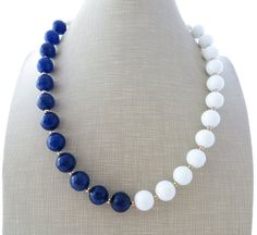 Blue and white agate necklace beaded necklace by Sofiasbijoux
