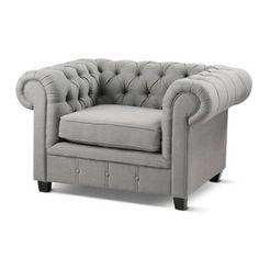Wolf Grey Chesterfield Armchair