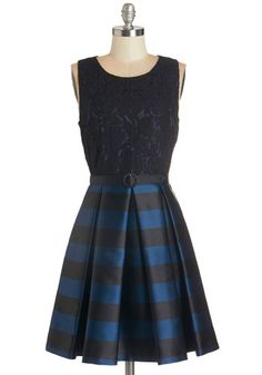Party Person Dress - Blue, Black, Stripes, Lace, Belted, Party, Daytime Party, A-line, Sleeveless, Woven, Better, Scoop, Pleats, Pockets