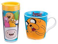 Cartoon Network Adventure Time 16oz. Plastic Travel Mug and 12oz Ceramic Coffee Mug Bundle @ niftywarehouse.com #NiftyWarehouse #AdventureTime #TVShow #Cartoon #Show #CartoonNetwork