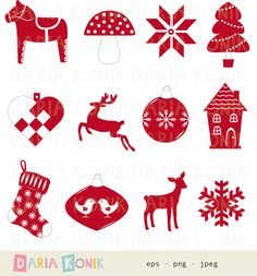 Scandinavian Christmas Clip Art Set-heart, dala horse, deer, bauble, snow flake, house, stocking, eps, png, jpeg, instant download
