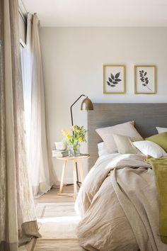Combinación de colores para un dormitorio moderno. #cuadros #cabeceros #mesitasdenoche #lamparas #estiloydeco