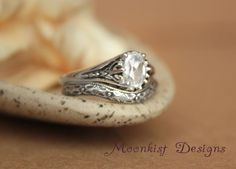 Filigree Engagement Ring Set with Fitted by moonkistdesigns