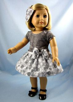 18 Inch Doll Clothes - Doll Party Dress - Fits American Girl Dolls - Doll Clothing 18 Inch - Drop Waist Doll Dress -