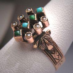 Antique Victorian bague perle Turquoise Rose par AawsombleiJewelry