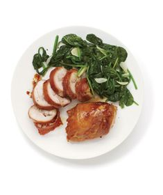 Prosciutto-Wrapped Chicken With Sautéed Spinach