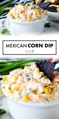 A quick and easy Mexican Corn Dip Recipe made with cream cheese and jalapeños! This is one dangerously delicious, crowd-pleasing party appetizer that's sure to liven up any event! Make it ahead and serve it cold, or serve it right away at room temperature, it's perfect alongside Fritos, tortilla chips, or even fresh veggies for scooping!