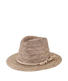 Womens Raffia Fedora W/ Double Cord, Button & Frayed Trim