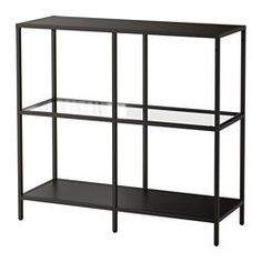 VITTSJÖ Shelving unit - black-brown/glass - IKEA - add wheels and wine rack to use in kitchen?