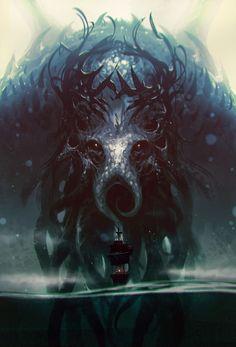"""The Call of Cthulhu – horror concept by ömer tunç "" Hp Lovecraft, Arte Horror, Horror Art, Dibujos Dark, Lovecraftian Horror, Eldritch Horror, Shadow Of The Colossus, Call Of Cthulhu, Epic Art"