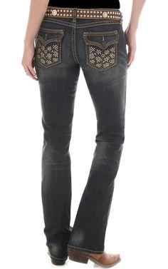Rock 47™ by Wrangler® Women's Bronze Studded Flap Pocket Ultra Low Rise Jeans