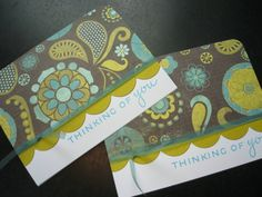 Handmade Thinking of You Card Set of 2 by apaperaffaire on Etsy