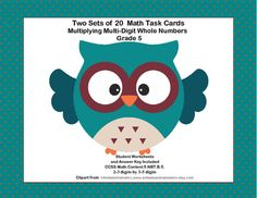 This collection of 40 Task Cards gives your students lots of practice in multiplication. It is aligned with:CCSS.Math.Content.5.NBT.B.5.Two Sets of 20 covering 2-3 digits by 3-5 digits multiplicationThe student worksheets and answer keys are included.If you're looking for more quality practice for your fifth graders, check out the following link.Math 4-5