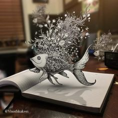 Drawings - DOODLE ART: Visoth Kakvei is a graphic designer from Cambodia, USA whose works are cheery and quirky. Doodling is considered as an art but it can still be fun and could every way tend to be Sketchbook Drawings, 3d Drawings, Detailed Drawings, Amazing Drawings, Sketches, Croquis 3d, Doodle Art, Illusion Drawings, Cool Doodles