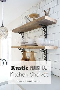 Rustic industrial kitchen shelves Much better with age – Clear Kitchen Shelf Vintage Industrial Furniture, Industrial House, Rustic Industrial, Rustic Furniture, Industrial Shelves, Rustic Wood, Industrial Closet, Rustic Cafe, Industrial Windows