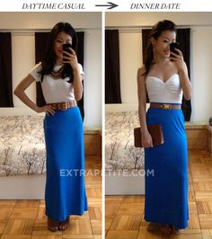From Extra Petite: two ways to style a maxi skirt. Try a jersey maxi skirt as a mid length tube dress! Skirt Fashion, Diy Fashion, Fashion Outfits, Womens Fashion, Petite Outfits, Cute Outfits, Style Challenge, Fashion Challenge, Jersey Maxi Skirts
