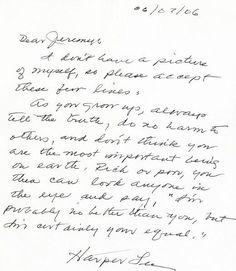 Letter from Harper Lee to fan