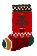 """Feather Tree Latch Hook Stocking. Finished size 12x17"""". Kit comes with easy-to-follow full color chart, 5-mesh canvas, 3 ply pre-cut acrylic rug yarn and complete instructions. Backing fabric, finishing supplies"""