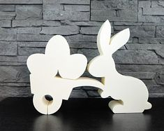 "2 x Concrete Casting mould ""bunny with cart and eggs"" Concrete Casting, Wooden Signs With Sayings, Scroll Saw Patterns Free, Selling Handmade Items, Diy Ostern, Decorative Signs, Wooden Decor, Diy Crafts To Sell, Easter Crafts"