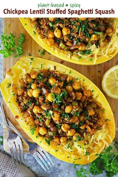With this Spicy Vegan Chickpea Lentil Stuffed Spaghetti Squash recipe, you can have a tasty, filling, low carb, plant-based dinner on your table in 40 minutes. Spaghetti Squash Recipes, Stuffed Spaghetti Squash, Lunch Recipes, Wine Recipes, Breakfast Recipes, Dessert Recipes, Lentils, Spicy, Vegan Vegetarian