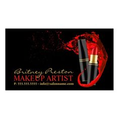 298 best zazzle business cards images on pinterest business cards makeup artist business card with red lipstick colourmoves