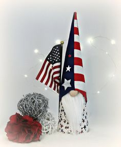 Patriotic, 4th of July, Memorial Day Nordic Gnome, Tomte, Nisse, Gnome, Scandinavian, Courage