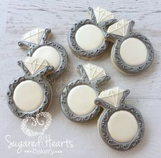 Anniversary Engagement Wedding Ring Cookies by SugaredHeartsBakery