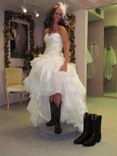 Belle Bridal Wedding Dress, Laurel Cowgirl Boots! #wedding #bride ...
