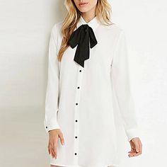 Chemise Aux femmes,Couleur Pleine Décontracté / Quotidien simple Printemps Manches Longues Noeud Blanc / Vert Coton Fin - EUR € 12.73