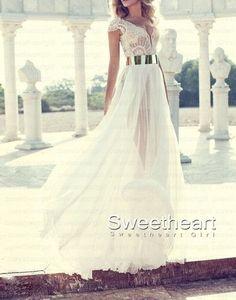 White Chiffon Long Prom Dresses, Evening Dresses #prom #dress