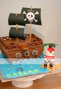 Pirate Ship Cake by Kat's Cakes, via Flickr
