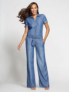 New York & Company Gabrielle Union Collection - Jumpsuit - Blue Jewel Wash Denim Playsuit, Denim Jumpsuit, Cool Outfits, Casual Outfits, Casual Clothes, Classy Suits, Jumpsuit Outfit, Denim Fashion, Gabrielle Union
