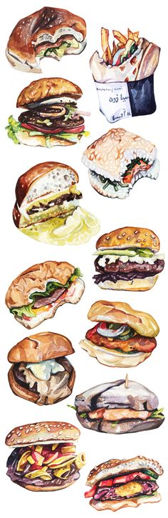 Burgers from around the world - editorial illustrations for New York Magazine. HOLLY EXLEY