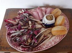 This is a warm salad, or a straightforward vegetable accompaniment, with a lot of WOW! factor. The colour is arresting, but so are the fabulous shapes of the radicchio, and the sheer volume of it. This serving for three to four takes up a whole oval platter.