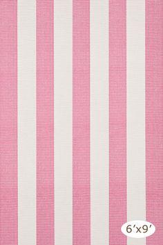 Yacht Stripe Pink/White Woven Cotton Rug, 6'x9', $223
