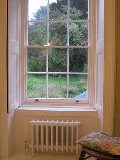 restored Georgian window with new cast iron rad. Sash Windows, Window Shutters, Georgian Windows, Cast Iron Bathtub, Georgian Interiors, Architrave, Looking Out The Window, Lounge Ideas