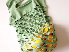 Make a re-usable market bag from an old t-shirt   19 Cheap  Innovative Ways To Green YourHome
