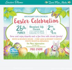 Easter Egg Hunt Flyer Invitation Poster  Template Church School