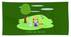 """Cathy And The Cat With Apples Towel (Beach Towel (32"""" x 64"""")) by Laura Greco.  Our towels are great."""