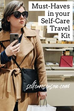 Must-Haves in your Self-Care Travel Kit. selfcareseason.com. sleep accessories, beauty products, toiletries, entertainment, smart snacks for your flight. De-stress, stay comfortable, and travel in style!