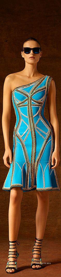 Hervé Léger by Max Azria Pre-Fall 2015 ♔ THD♔ Unique Fashion, High Fashion, Fashion Show, Fashion Design, Blue Fashion, Max Azria, Moda Chic, Runway Fashion, Womens Fashion