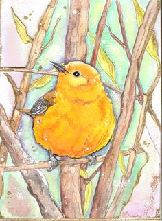 Yellow bird illustration from my '12 Books Of Christmas' anthology - a gift for my mum. Painted predominently with Neocolor II soluble wax pastels and Derwent colour pencils then die-cut by hand and highlighted with Winsor & Newton gold ink. From Shroo's World - an arty blog.