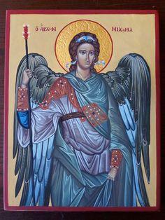 San Michele Arcangelo tempera su tavola di legno gessata, 20x26 cm impreziosita con foglia oro  23,75kt