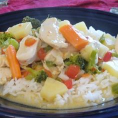"Thai Pineapple Chicken Curry | ""DELICIOUS!! My 6 year old and 4 year old even loved it :)"""
