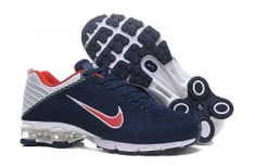 ccb388004fe64b Nike Air Shox Flyknit Navy Blue White Red Shox R4 Men s Athletic Running  Shoes Mens Nike